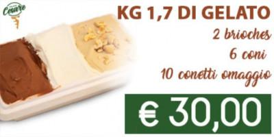 Promo 1,7 kg di gelato, 2 brioches,6 coni e 10 conetti omaggio